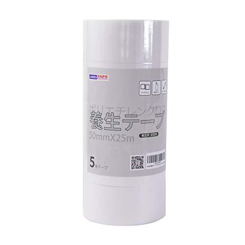 【Amazon 限定ブランド】ADHES 養生テープ 白 ガムテープ はがせる 台風 窓ガラス用 50mm�I25m 5巻入り (YB16-弱粘着)