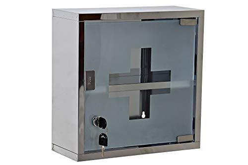Botiquín Baño Armario de Medicina Primeros Auxilios Acero Inoxidable (Metal/Espejo, 30 x 30 x 12 cm)