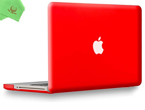 UESWILL Smooth Soft-Touch Matte Frosted Hard Shell Case Cover for MacBook Pro 13' with CD-ROM (Non-Retina)(Model:A1278)+ Microfibre Cleaning Cloth, Red