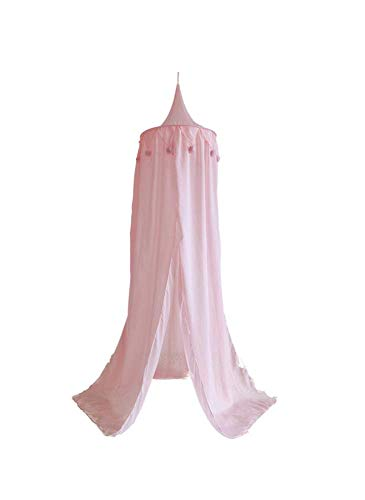 Primst Decorative Canopy for Children's Bed, Princess Mosquito Net with Cotton Ball Pendant, Nursery Room Decor Tent for Playing Reading (Pink)