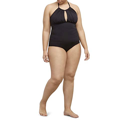 Kenneth Cole REACTION Women's Plus-Size Ruffle Shuffle Solid High-Neck Swimsuit, Black, 1X