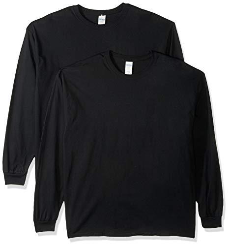Gildan Men's Heavy Cotton Long Sleeve T-Shirt, Style G5400, 2-Pack, Black, X-Large