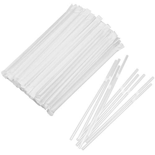 kissral Pajitas de Plástico 100 PC Pajitas Desechables Transparentes para Celebraciones de Bodas, Bares, Familias, Cumpleaños