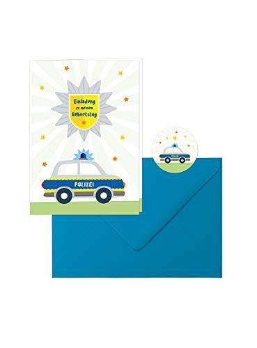Edition SF Polizei-Geburtstag: 10 schöne Einladungs-Klappkarten zum Kindergeburtstag im tollen Polizei-Design mit blauen Umschlägen, dazu 10 runde Aufkleber mit dem kleinen Polizeiauto