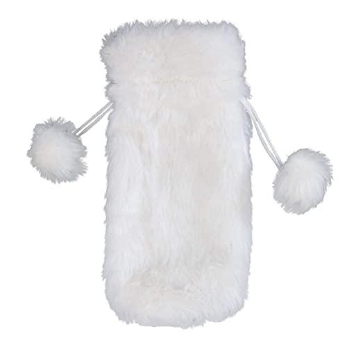 BARUCHT Bolsas para botellas de vino de Navidad, color blanco, piel sintética, bolsa de regalo con cordón, bolsa de regalo para Navidad, decoración de mesa, 2 unidades