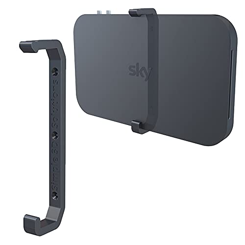 mywallmount Sky Q Wall Mount Bracket for 1TB/2TB TV Box – Complete with Fixings – Vertical or Horizontal – Fits Models ES340, ES240, ES140, 32B0xx, 32B1xx, 32B2XX, 32C0xx, 32C1xx – L22.5xW2xD6cm