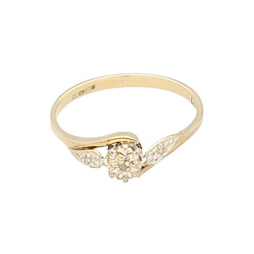 Anillo de oro amarillo de 9 quilates para mujer con diamantes de tres piedras (tamaño M 1/2) 5 mm de ancho | Anillo de lujo para mujer