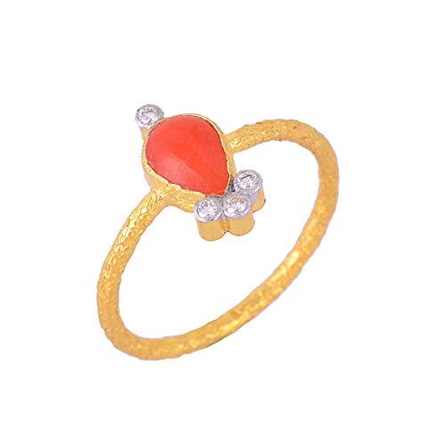 Anillo de oro amarillo certificado de 18 quilates, anillo texturizado con piedra de coral de 0,47 quilates y diamantes naturales de 0,07 quilates (color H I, claridad Vs2 Si1) para regalos de