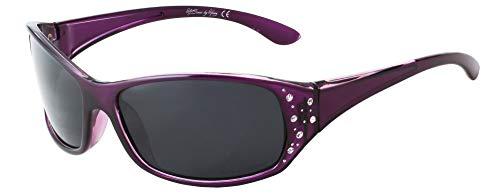 Polarized Sunglasses for Women – Deep Lavender Frame – Dark Smoke Lens – HZ Series Elettra – Women's Premium Designer Fashion Sunglasses