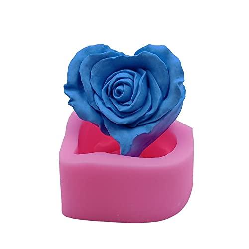 ZHANGHONGWEI 3D Rosa jabón Vela moldes Flor Cera Vela Molde Molde decoración de Resina epoxy Yeso artesanía Molde de Silicona