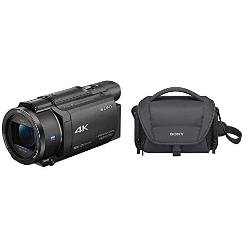 Sony FDR-AX53-4K Ultra Handycam (20-Fach optischer Zoom, 5-Achsen Bildstabilisation, NFC) schwarz & LCS-U21 Universal-Tasche für Handycam, Alpha und Cybershot Kameras