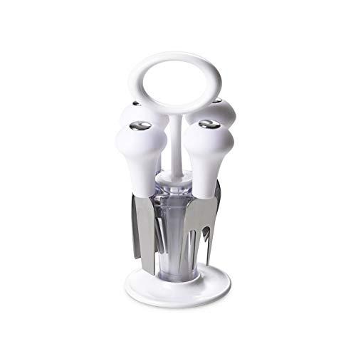 Omada Design messenblok met 4 kaasmessen, compact en praktisch ook voor het meenemen van de tafel, ergonomisch en innovatief design, Trendy Line 4 Coltelli E Ceppo Trasparente