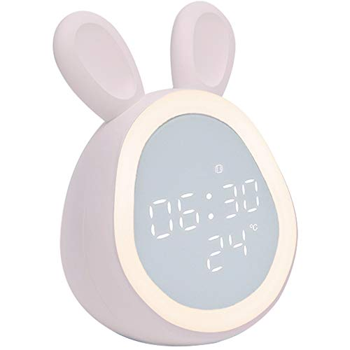 Clopkg LCD-scherm, digitale wekker, Sound Control, 6 Wekker Ringtones, Timed Night Light, regelbaar volume en de helderheid, oplaadbare, Bedroom Wekker, Kinderen (roze/wit) (Color : Pink)
