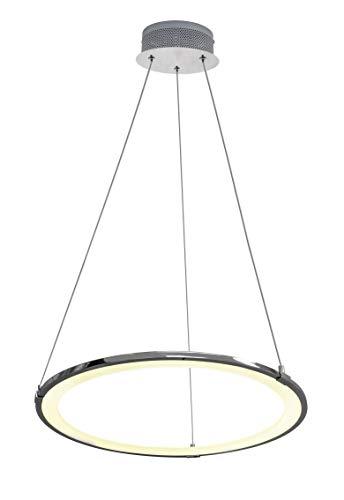 Suspension LED Universum Halos : en aluminium chromé avec couvercle opale en plastique pour une lumière blanche et chaude homogène, 19 W, hauteur réglable