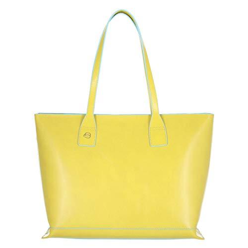 Shopping bag in pelle sfoderata giallo 5