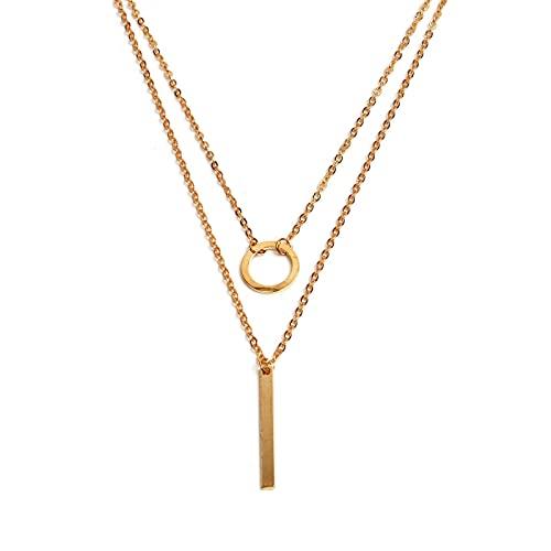 ZKF Collar de moda para mujer, anillo de metal, collar multicapa