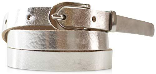 fashionchimp ® Basic Damengürtel aus 100% echtem Leder, schmaler Gürtel, Breite ca. 1,5cm, Made In Germany (Silber-Metallic, 90/BW75)