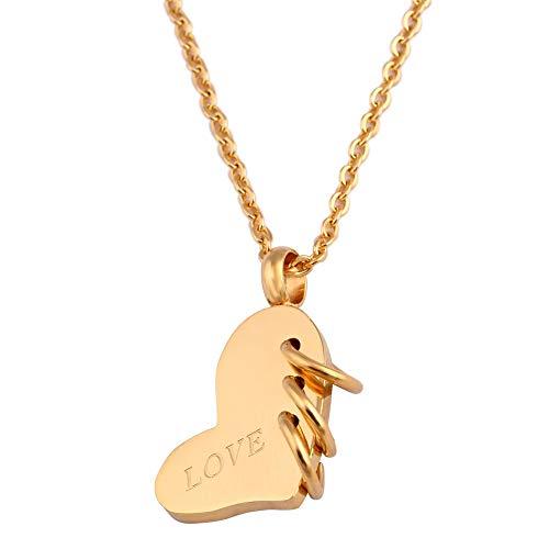 collar Collar Con Colgante De Corazón De Amor De Acero Inoxidable A La Moda Con Encanto De Tres Círculos Color Dorado Pulido Para Mujeres Regalos De Joyería
