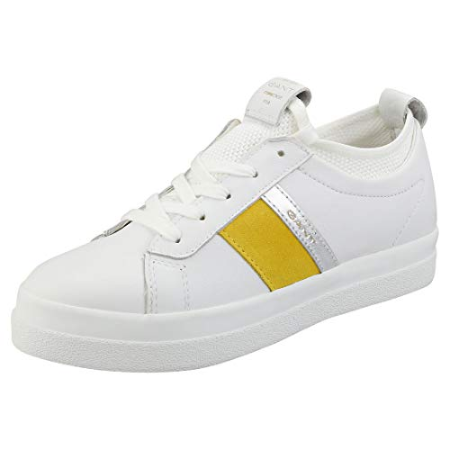 GANT FOOTWEAR Aurora, Zapatillas para Mujer, Blanco (BR. Wht./Go.Yellow G288), 36 EU
