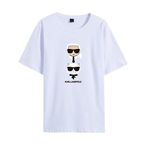 INSTO T-Shirt Karl Lagerfeld Gedruckt T Unterhemd Sportbekleidung Fitness Tragen Unisex Einfach Beiläufig/Weiß/XL