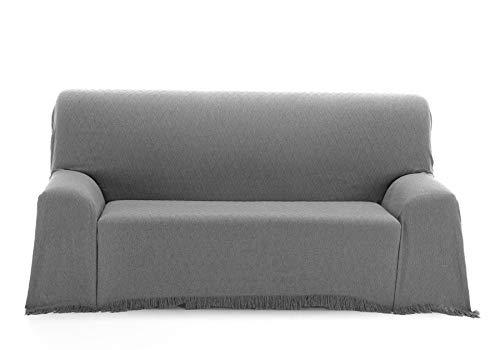EURASIA Mehrzweck-Tagesdecke für Sofa/Bett, Rautenmuster, Mehrzweckdecke, für Bett, Tagesdecke, ideal für Sofas und Betten (grau, 180 x 260 cm)