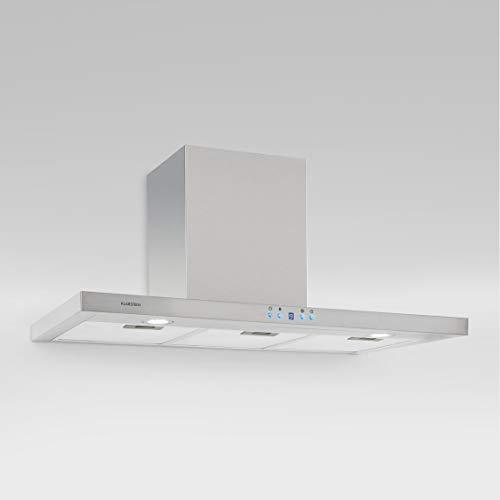 Klarstein RC90WS - Campana extractora, Extractor, Extractor de pared, Aspiración/Ventilación, 3 Niveles, Potencia máx. 650 m³/h, Acero inox, Pantalla LCD, Montaje en pared, 90 cm, Plateado