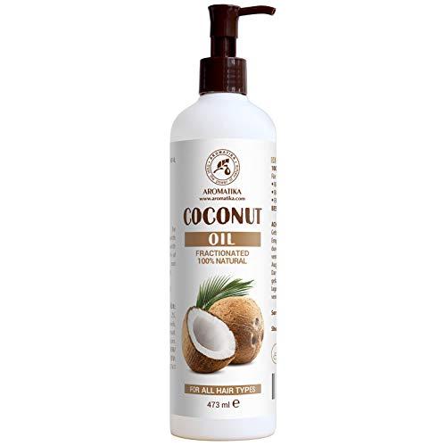 Huile de Noix de Coco Fractionnée 473 ml - 100% Pure et Naturelle - Excellents Bienfaits pour la Peau - Cheveux - Visage - Corps - Utilisé Aromathérapie - SPA - Bain - Massage