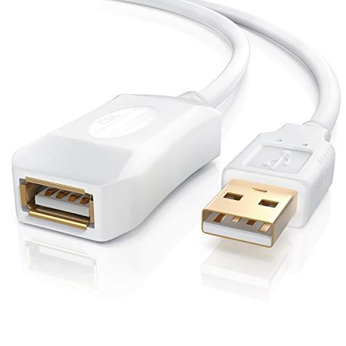 CSL - 5m USB 2.0 Repeaterkabel Verlängerungskabel - Repeater Extention Cable - aktiv mit Signalverstärkung - Signalverstärker - erweiterbar - vergoldete Kontakte - weiß