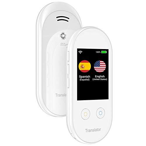ANFIER Language Translator Device with Offline Translation, AI Voice Instant Language Translator (W08) with 2.4 inch Touchscreen Image Translation-108 Languages and Two Way Translator |Wi-Fi|-White