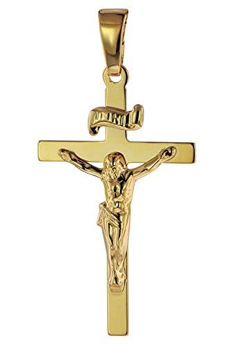 trendor Anhänger Kruzifix 585 Gold/14 Karat 24 x 15 mm Herren Anhänger Gold, modischer Kreuzanhänger, Geschenkidee, eleganter Schmuck aus Echtgold 75642