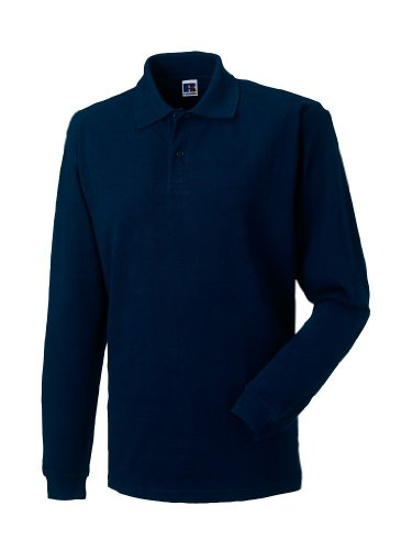 Russell Adults Long Sleeve Classic Cotton Polo-Shirt Herren Langarm Seitenschlitze R-569L-0, Größe:L, Farbe:French Navy