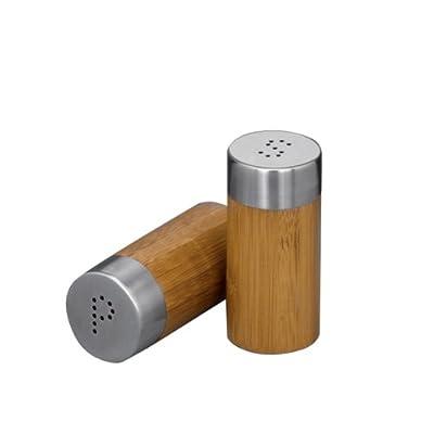 Zeller 25306 2-Piece Salt and Pepper Cellar Set Bamboo/Stainless Steel 4 x 8.3 cm by Zeller