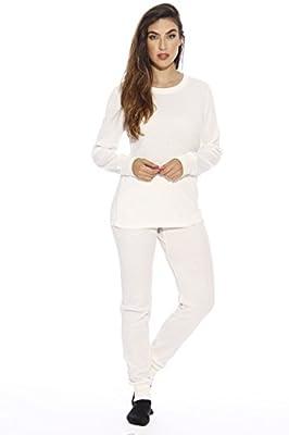 Just Love 95862-White-M Women's Thermal Underwear Pajamas Set Base Layer Thermals