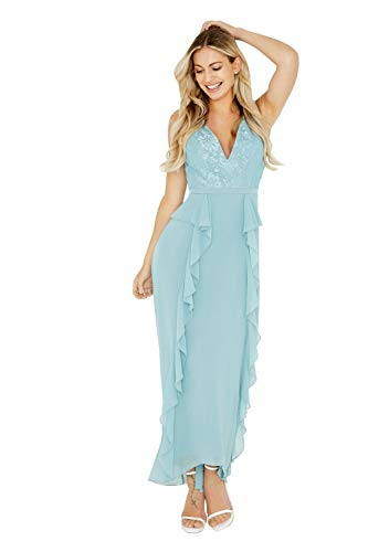 Little Mistress Damen Clarita Blue Plunge Maxi Dress with Lace Kleid, Blau (Glacier), 38 (Herstellergröße: 10)