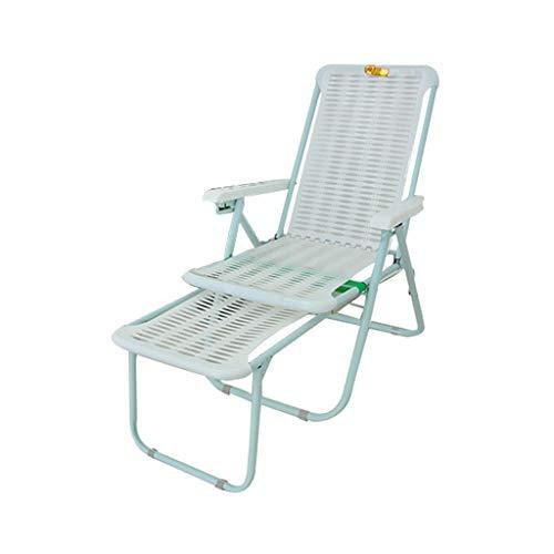 DQWGSS Tumbona Silla de jardín Respaldo Ajustable Sillón reclinable Plegable Silla de plástico Liviana cómoda para Exteriores Blanco