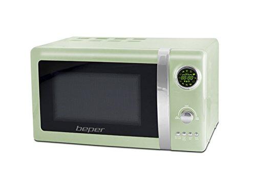 BEPER Forno Microonde Retro, Acciaio, Vetro, plastica, Verde, 48 x 38 x 29 cm