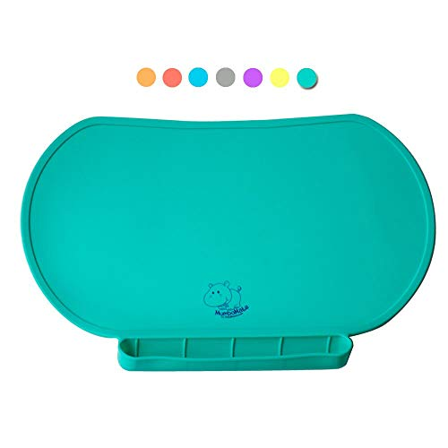 Children Place Mat by Baby Mumbo, Premium Quality, Food Grade Silicone for Maximum Hygiene, Unique Raised Edges Design and Spill Proof Accident Tray, Lightweight and Portable, 6 Colors (Giggle Green)