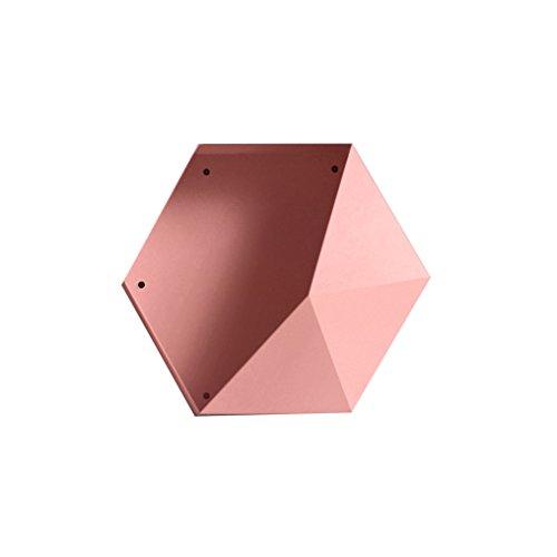 LSLS Elegante Minimalista Moderna Sala de Estar Dormitorio Almacenamiento Creativo labrado Hierro de Pared decoración Colgante geométrico Diamante Estante estantería de Pared (Color : #4)