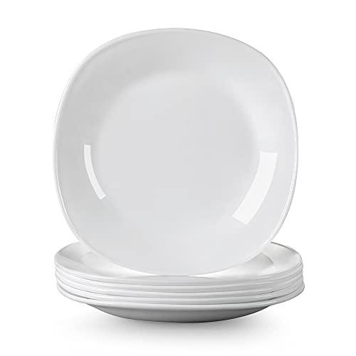 MALACASA serie Esmer Juego de Platos 6 piezas 8' Platos de Postre extra resistente Vajilla de Vidrio Opal