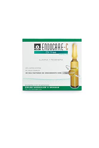 Endocare Radiance C Oil-free - Ampollas Faciales Antiedad, Regeneradoras y Antioxidantes de Alta Tolerabilidad, para Pieles Normales y Grasas, 30 Unidades