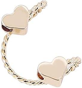 Guerast Double Peach Heart Ear Hook Ear Clip Cuff Earrings Moon Ear Clips Earring Ear Cuffs Ear Climber For Women Girls