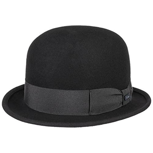 Lipodo Bombín de Fieltro Lana Mujer/Hombre - Made in Italy Bowler Sombrero con Banda Grosgrain Verano/Invierno - L (58-59 cm) Negro