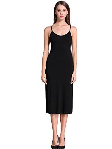 MSBASIC Unterkleid Schwarz Kleid Knielang Sommerkleid Spaghettiträger Luftig Nachtwäsche Medium, Schwarz