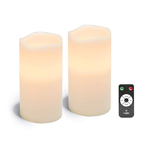 4x8 White Flameless Candles - Real Wax Pillar Candles, Flickering LED Light, Remote Control with Timer, Battery Operated, Large 4 Inch Diameter, Unscented, Realistic Look - 2 Pack