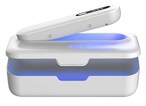 UV Light Sanitizer Box – UV Cell Phone Sanitizer, Phone Cleaner, UV Sterilizer, 2 in 1 Design with Removable UV Sanitizer Wand, Portable, Ultraviolet Light Disinfection for Home and Travel, White