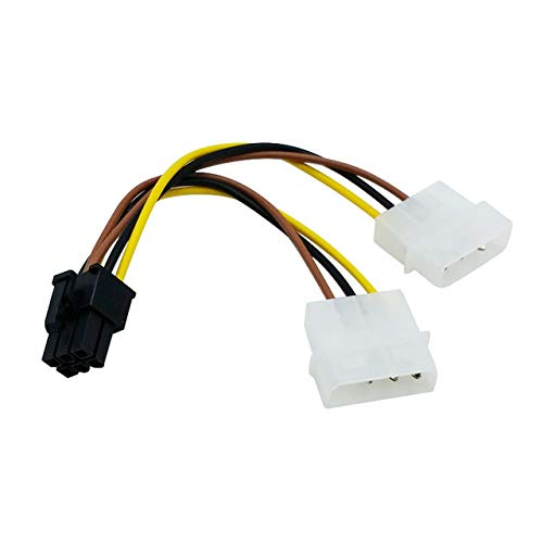 Dual Molex 4-Pin Male To 6-Pin Male Cable
