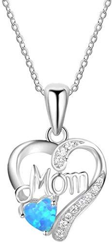 Opal Colgante Mujer 925 Collar de plata Opal azul Love Heart to Mom-azul