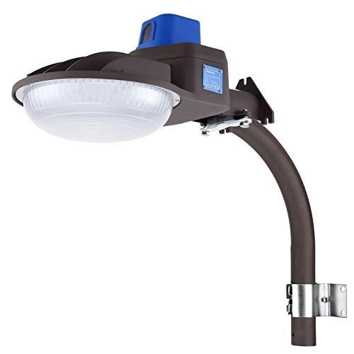 LEONLITE 75W LED Barn Light, Security Flood Light with Monuting Arm, ETL Listed, Photocell Dusk to Dawn, 600W Eqv. Daylight 5000K, IP65 Farm/Yard/Garage/Sidewalk Lighting, Brown