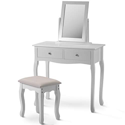 Juego de tocador blanco con espejo y taburete, escritorio de maquillaje para dormitorio