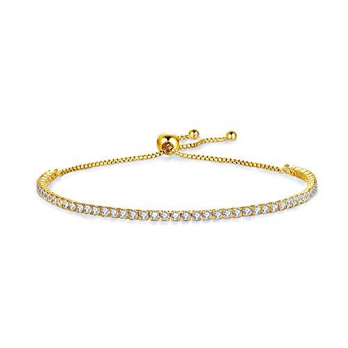Jösva Damen Silber Armband, 925 Sterling Silber Gold Verstellbar Tennis Armband Armreif, Einstellbar Armkette mit Weiß Rund Zirkonia Perfekt als Geburtstagsgeschenk